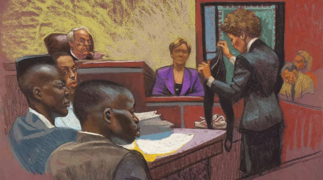 pittoresca rappresentazione del processo sui giornali americani, notare il negro cyberpunk dal muso torvo